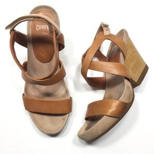 e662279052d Camper wood block heel brown leather sandals Sz 35